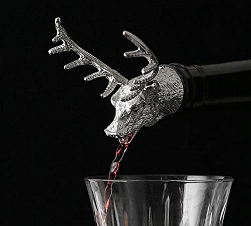 (Wine Pourers - Stainless Steel Deer Stag Head Wine Pourer Unique Bottle Stoppers Aerators Bar Style Sn1956 - Aerators Drip Oz Disc Stoppers And No Animals)