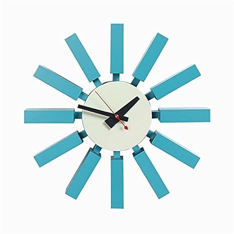 Relojes de pared Reloj cuadrado azul Moda Salón relojes decorativos: Amazon.es: Hogar