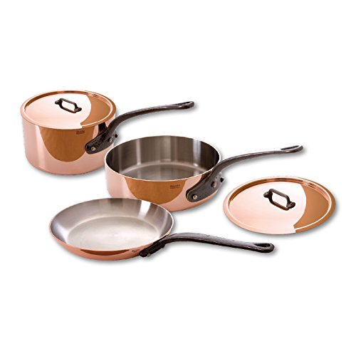 Mauviel Made In France M'Heritage Copper 150c 6400.01 5-Piece Set with Cast Iron Handles