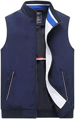 QIQIDEDIAN 釣りベスト ベスト夏ビジネスレジャースタンドカラーホワイトベスト男性薄いセクションルーズベストノースリーブジッパーベストベスト (Size : 170)