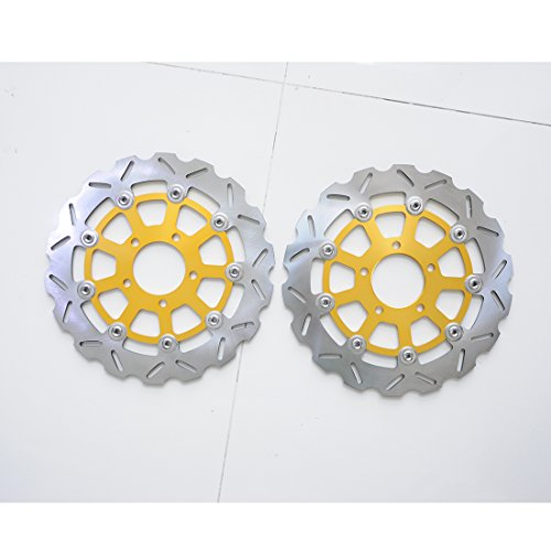 Wotefusi Motorcycle Front Brake Disc Rotor For Suzuki GSXR600 GSXR750 K4/K5 2004-2005 GSXR1000 K3/K4 2003-2004 Golden Color ()