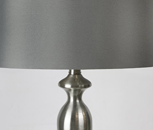 Grandview Gallery Table Lamps with Dark Grey Lamp Shade, Set of 2 - Brushed Nickel Body with Grey Linen Shade, 26.5