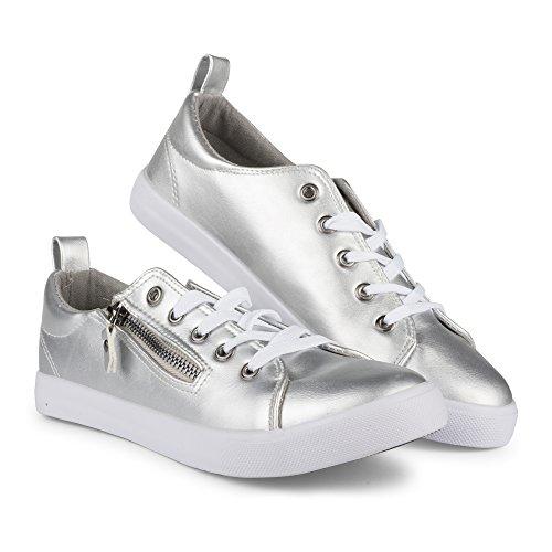 Twisted Frauen Alley Kunstleder Fashion Sneaker mit dekorativen Reißverschluss Silber