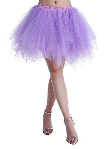 Adult Women 80's Plus Size Tutu Skirt Layered Tulle Petticoat Halloween Tutu Purple