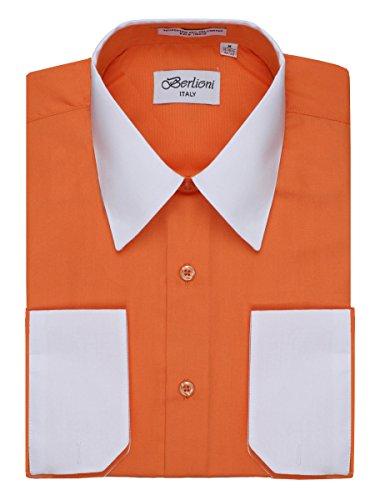 Men's Orange Two Tone Dress Shirt w/ Convertible Cuffs - ...