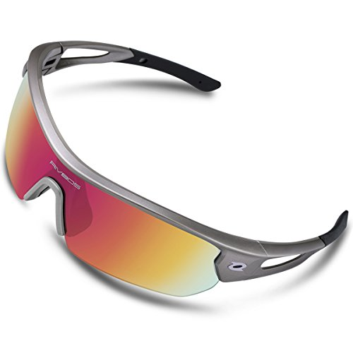 RIVBOS Polarized Sports Sunglasses Sun Glasses with 4 Interchangeable Lenses for Men Women Baseball Cycling Running TR90 Frame RB832 (Grey Rainbow Lens) - Prescription Sports Sunglasses Cycling