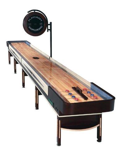 Playcraft Telluride Pro-Style Shuffleboard Table with Electronic Scorer, Espresso, - Scorers Table
