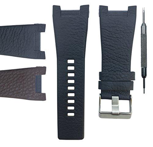 22mm Genuine Leather Watch Band Strap For DZ1430 DZ1215 DZ1453 DZ1273 - Free Spring Bar Tool (Brown)