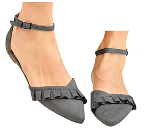 (Summer Ankle Strap Sandals Shoes Womens Dancing Dress Shoes Slip On Pointed Toe Pumps Loafers by Gyouanime Gray)
