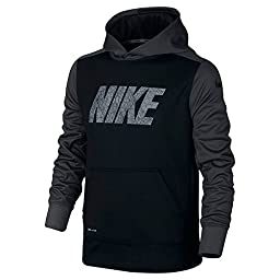 Nike Boys 8-18 Youth Therma-Fit Fleece Pullover Hoodie Athletic shirt (M 10-12, Black Anthracite)