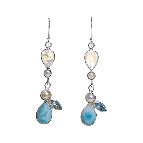 BEAN & VANILLA Larimar Stone Dangle Earrings in Italian Sterling Silver by BEAN & VANILLA