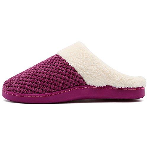 Vifuur Womens Pantofole Invernali Breve Fodera Fodera In Memory Foam Antiscivolo Sole Scarpe Da Casa Indoor Outdoor Rosso