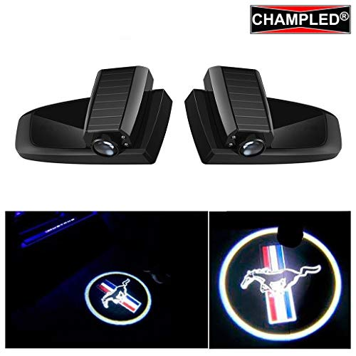 Champled Laser Projector Logo Illuminated Emblem Under Door Step Courtesy Shadow Light Welcome Ghost Lighting Symbol Sign Badge Led Glow Car Accessory Wireless Easy Installation Ford Mustang
