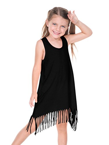 Fringe Dress Black (Kavio! Girls 3-6X Sheer Jersey Raw Edge Fringe Asymmetrical Tank Dress Black 6X)