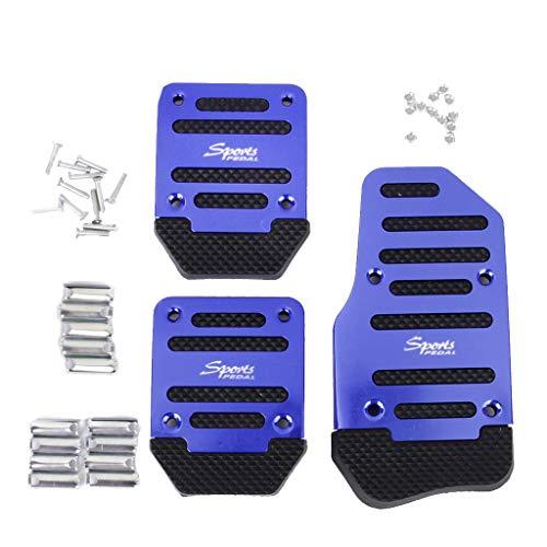 3pcs Non-Slip Racing Manual Car Truck Pedals Pad Cover Set Blue