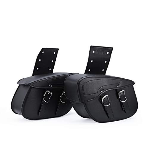 INNOGLOW 2pcs Motorcycle Waterproof Saddle bags Synthetic Leather 2-Strap Saddle bag Tool Bag Black ()