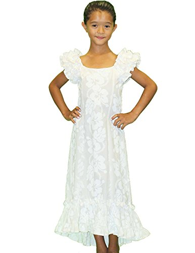 White Ruffle Muumuu Hawaiian Dress for Girls Made in Hawaii-12