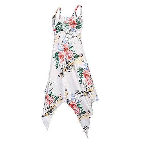mujer Vestido mangas arnés de Sundresses verano la largo Sling para Blanco Beach hibote floral impreso Vestidos rodilla del sin del Vestido ZxwYqF4B