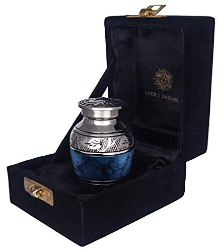 Small Cremation Urn for Human Ashes by Adera Dreams - Blue Clouds Mini Keepsake Urn - with Premium Case, Funnel and Velvet Carrying Pouch - Miniature Memorial Funeral Urn for Sharing Ashes by Adera Dreams