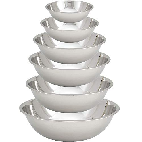 Tiger Chef Stainless Steel Mixing Bowls Set for Kitchen – Nesting Prep Bowls (Set of 6)