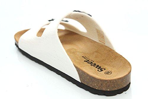 Sweet Malaga F11210Gp - Sandales - effet crocodile - femme - blanc
