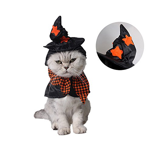 Anytec-Pet Pet Costume,Anytec Cat Kitten Puppy Plaid Masked Cloak Witch Wizard Dress with Hat Role Play Costume for Halloween Birthday Party (Plaid Witch)