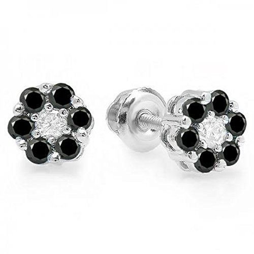 Dazzlingrock Collection 0.40 Carat (ctw) 10K Round Cut White & Black Diamond Ladies Cluster Flower Stud Earrings, White Gold (0.4 Center Round Ct)