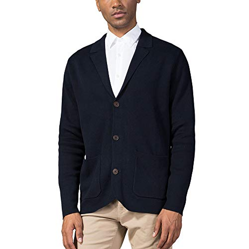 Kallspin Men's Relaxed Fit Cotton Blend Cardigan Sweater Casual Shawl Collar Knitwear with Buttons & Pockets (Navy Blue, M) ()