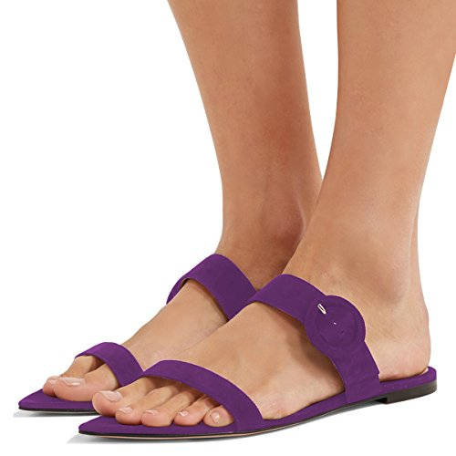 FSJ Women Comfortable Walking Flats Faux Suede Mule Sandals Open Toe Slip on Causal Shoes Size 7 Purple (Sandals Suede Purple)