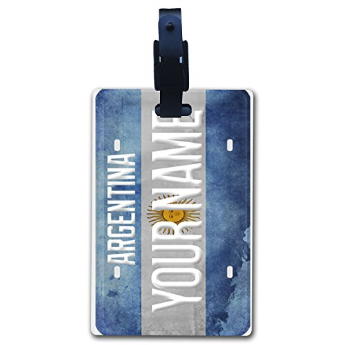 Argentina Flag License Plate - BleuReign(TM Personalized Custom Name Country License Plate Argentina Flag Luggage Tag with Strap
