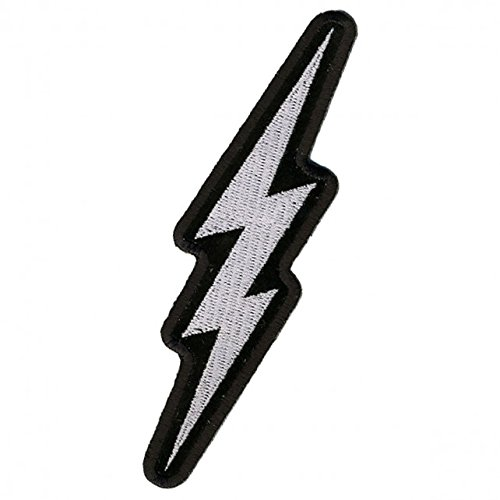 - Hot Leathers, SILVER LIGHTENING BOLT, Iron-On / Saw-On Rayon PATCH - 2