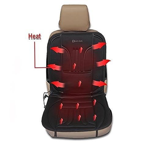 Zento Deals Automotive Premium Quality Ultra Comfortable Heated Car Seat Cushion 12V Adjustable Temperature (Black)