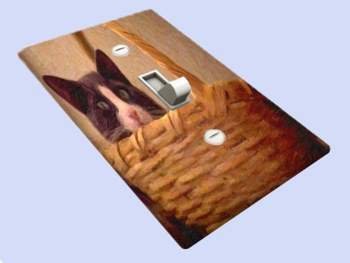 Cat in Wicker Basket Decorative Switchplate Cover