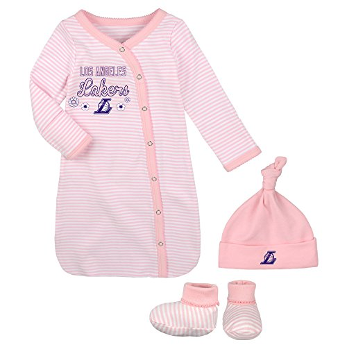 Outerstuff Lakers Pink Newborn Gown, Cap, and Booties
