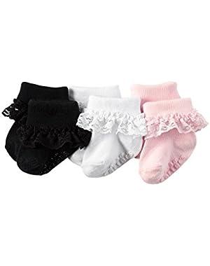 Baby Girls' 3-Pack Ruffle Cuff Dress Socks (12-24 Months)
