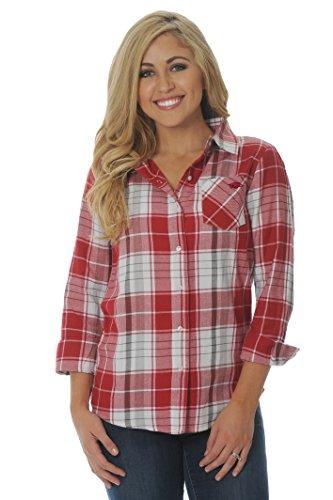 (UG Apparel NCAA Arkansas Razorbacks Women's Plus Size Boyfriend Plaid Shirt, 1X,)