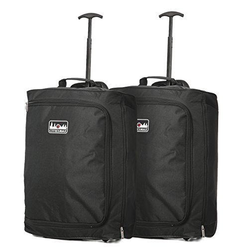 Set of 2 55x40x20cm Ryanair Maximum Cabin Hand Luggage Approved Trolley Bag, 42L