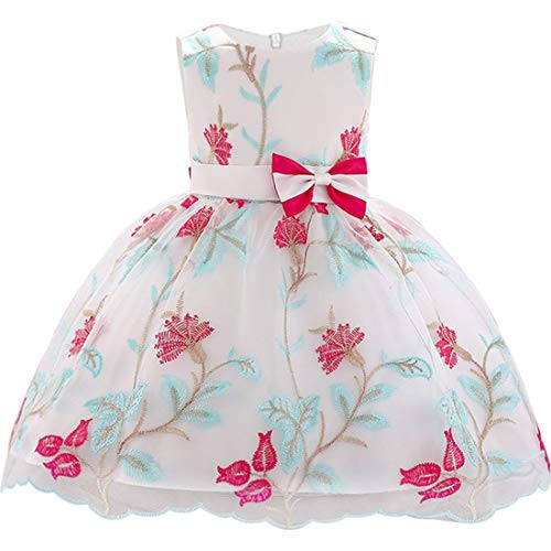 ZaH Dress for Baby Newborn 0-24 Months Toddler Flowers Baby Dress Wedding First Birthday Baby Girls Clothes Baby Girl Party Dresses Prom Special Occasion Party Tutu Bow Gown (O-1887,Hot Pink,90)