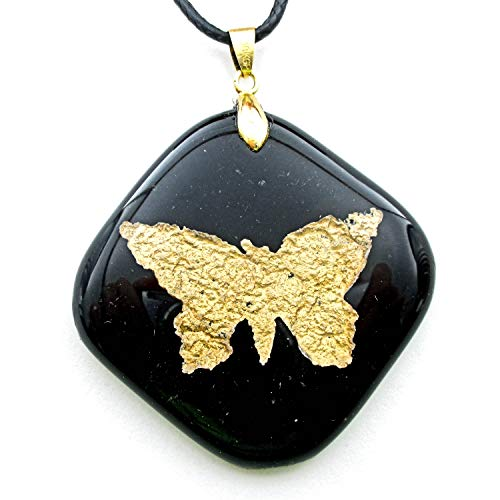 Kiln Faux Pas Gold Dust Butterfly Encased in Glass Black Glass Pendant Charm Necklace 18KGP Bail