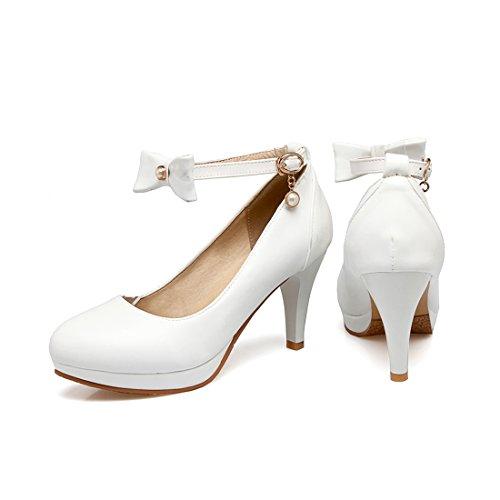 YE Damen Knöchelriemchen Pumps Stiletto High Heels Plateau mit Schleife und Schnalle Elegant Schuhe Weiß