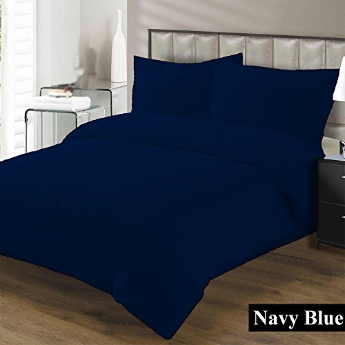 Premium Duvet Cover with Zipper Closer 100% Egyptian Cotton 600 Thread Count Luxurious, Durable and Hypoallergenic Ultra Soft Breathable By Kotton Culture ( Queen/Full, Navy Blue )