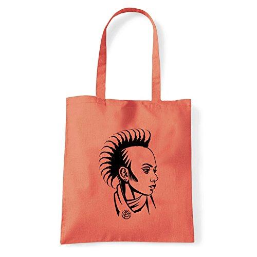 Art T-shirt punk-girl-bag - Bolso al hombro de Algodón para mujer Coral