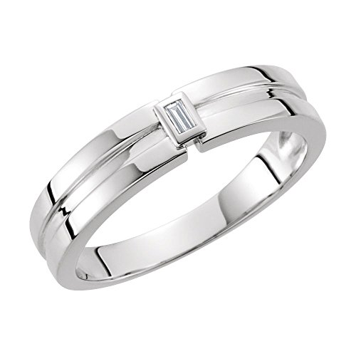White-gold Diamond 4.85mm Grooved Band by JE