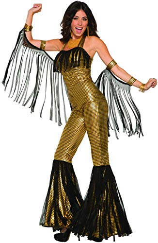 Forum 80709_STD-GD-Standard Women's Disco Queen Jumpsuit Adult Costume, Standard, Gold, Pack of 1]()