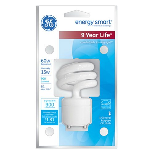 GE Lighting 75367 Energy Smart Spiral CFL 15-Watt (60-watt replacement) 900-Lumen T3 Spiral Light Bulb with Medium Base, 1-Pack (Energy Smart Spiral)