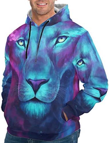 CUCIN Tiger Lion Animal Zeichnung Lose Überziehpullover Sitzpullover mit Kordelzug für Teenager White XXL