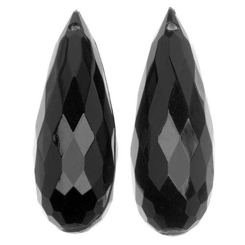 Beadaholique Vintage Lucite Plastic Faceted Teardrop Briolette Pendant Jet 14.5x44mm (Lucite Pendant)