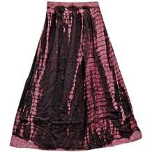 Mogul Womens Skirt Pink Brown Tie-Dye Hippie Cotton Chic Skirt