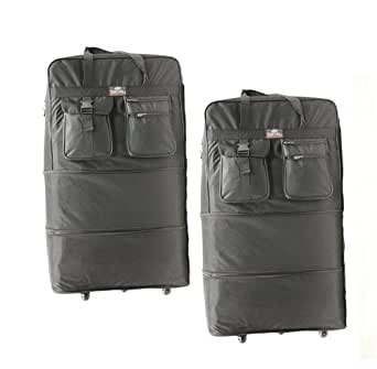 "Pack of 2, 40"" Expandable Wheeled Bags Rolling Duffel Spinner Luggage"
