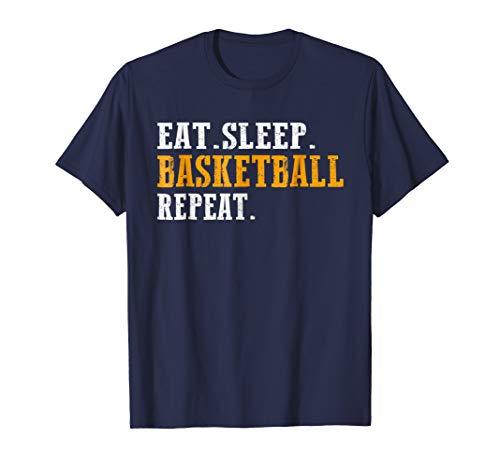 Basketball S/s Tee (Mens EAT SLEEP BASKETBALL REPEAT T-Shirt Funny Basketball Shirt S Large Navy)